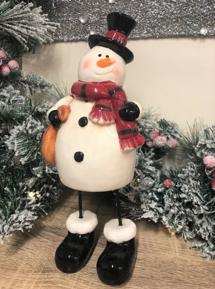 Ceramic Christmas Snowman Ornament Black Hat with Metal Legs